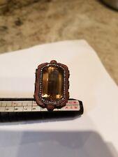 RARE 24k Gold Silver Citrin Diamond Ring Sz 5.25 Sevan Bicakci style !!