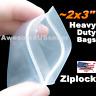"~2x3"" Thick 2 3 4Mil Clear Reclosable Zip lock Plastic Ziplock Bags Poly Zipper"