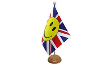 Union Jack (UK) Smiley Face Table Flag with Wooden Stand