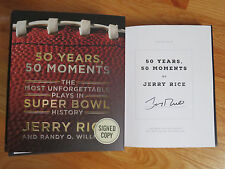 JERRY RICE signed 50 YEARS, 50 MOMENTS PLAYS in SUPER BOWL History 2015 Book COA