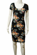 Womens New Look BodyCon Scoop Neck Dress Floral Print Black Size 8 to 18 Ladies