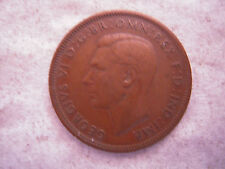 1948 KING GEORGE VI BRONZE HALF PENNY COIN, VF, Nice Coin, Original Patina