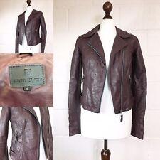 River Island Burgundy Biker Jacket Studded Faux Vegan Leather Pleather UK6  X40 