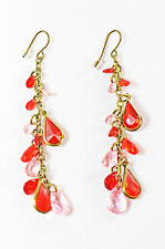 LADIES BRONZE RED AND PINK BEADED DROP EARRINGS AZTEC THEME (ZX6)