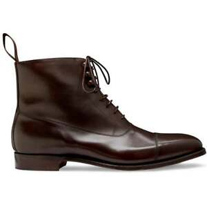 Handmade Men's Two Tone Dark Brown Leather Toe Caped Jodhpur Lace Up Ankle Boots