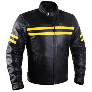 Motorcycle Leather Jacket For Men Black Moto Riding Racer Retro Biker CE Armored
