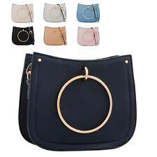 Ladies Faux Leather Hoop Handle Handbag Shoulder Bag Cross Body Bag KT2198