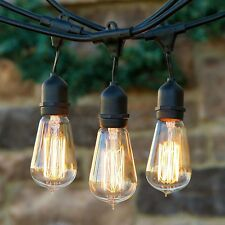 Industrial Clear Vintage Edison Style Bulb String Lights Outdoor Porch Patio 25'