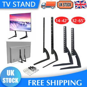 "Universal Table Top TV Stand Base VESA Pedestal Mount Bracket 14""-65"" LCD LED 3D"