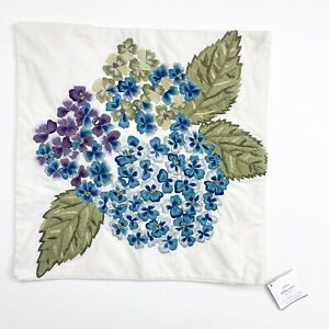 """POTTERY BARN Hydrangea Floral Embroidered Throw Pillow Cover Sham 18x18"""" NWT New"""