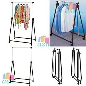 New Foldable, Adjustable, Portable, Garment Dress Hanging Rail Rack Castor Wheel