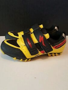 Vtg Specialized Comp cycling Shoes 40 EU / 7.5 US black/yellow 610 2740 vintage