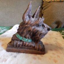 Vintage Syroco Wood Scottie Dog Scottish Terrier Dog Brush Holder