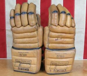 Vintage Bacharach Rasin Leather Lacrosse Gloves Hockey 46LG made in Canada Nice!