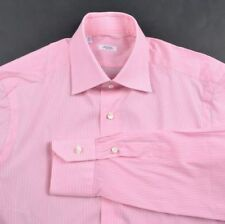 BARBA Pink White Classic Striped Cotton Blend Mens Luxury Dress Shirt - 14.5