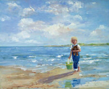 ZOPT328 little boy with doll in seaside art hand painted oil painting art canvas