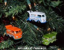Set of 3 Custom Volkswagen T2 Bus Christmas Ornaments VW Van Samba Camper 1:64