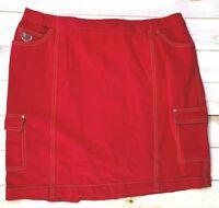 Quacker Factory Dream Jeannes Women's Red Cargo Skort Rhinestones Size XL