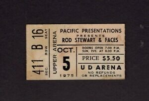 1975 Rod Stewart & Faces Concert Ticket Stub University Dayton Ohio First Step