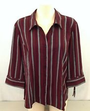 Reitmans Burgundy Gray Striped 3/4 Sleeve Classic Fit Button Up Blouse Sz XL NEW