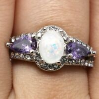2Ct Oval White Opal Amethyst CZ Halo Ring Women Jewelry 14K White Gold Plated