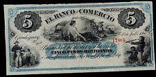 ARGENTINA 5 PESOS BOLIVIANOS BANCO DEL COMERCIO 1869 PICK # S1606r FINE.