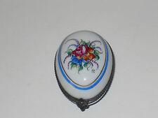 Floral Rochard Limoges Egg Shaped Trinket Box Hand Painted - Mint