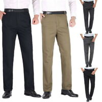 Business Mens Casual Pants Straight Leg Tousers Mens Party Loose High Waist Pant