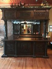 1800's Antique Bar Pub Stain Glass Built in Wine Rack Beautiful Carving Gorgeous