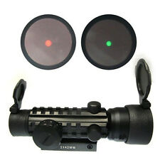 Optics 2x42mm Hunting Scope Sight Red/Green Dot with 20mm Rail Mount for Rifle