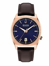 Bulova Accutron II Men's 97B133 Surveyor Quartz Blue Dial Leather Strap Watch