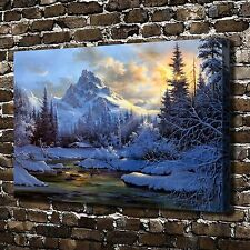 Snow mountain cabin creek HD Canvas print Home decor Art Painting posters 24x36