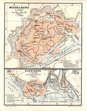 Antique map Middelburg Vlissingen Zeeland plattegrond plan Holland  1905