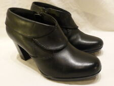 Clarks Collection Booties Black Leather Zip High Heel Womens Boots 6.5M $169