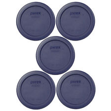 Pyrex 7202-Pc 1 Cup Blue Round Plastic Lid Cover 5Pk for Glass Bowl New
