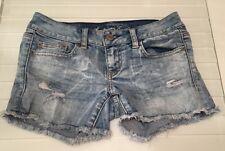 AMERICAN EAGLE women's shorts size 0 distressed denim inseam 4 in cotton blend