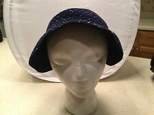 Ladies Vintage Hat Super Cute Best & Co Fifth Ave NY Dark Blue W/ Accents