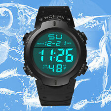 Waterproof Men's Boy LCD Digital Stopwatch Date Watch Sport Rubber Watches
