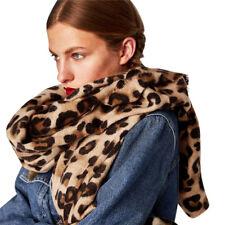 Women Winter Warm Leopard Printed Long Wool Shawl Soft Long Neck Scarf