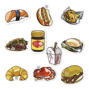 10x Aufkleber Koffer Sticker-Set Food Essen Reise Gepäck Auto Laptop Länder Welt