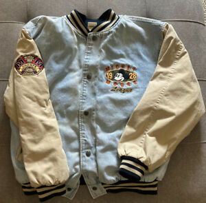 Vintage Disney Mens Mickey Mouse Letterman Bomber Denim Varsity Jacket - Size L
