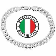 Men's Miami Cuban Bracelet Diamond Cut Solid 925 Sterling Silver 8mm Italy Made