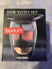 Bodum YoYo Set HAND BLOWN Glass Mug/Tea Infuser BLACK NIB 12 oz Model # K10547