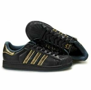 RARE Adidas Superstar II Men Size 44 / US 10 Black/ Gold Sneakers Shoes 561697