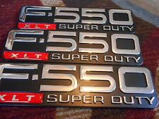 FORD F550 F-550 SUPERDUTY XLT FRONT FENDER AND TAILGATE EMBLEMS SET OF 3 NEW