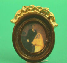 Dolls House Miniature Oval Picture of Bride & Groom : 12th scale Wedding Picture