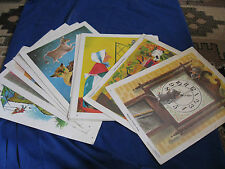 12 Vtg DAVID C. COOK Teaching Pictures Litho Nursery Rhyme HUMPTY DUMPTY 1967