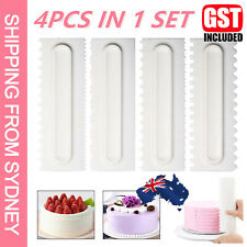 4Pcs Cake Decorating Icing Smoother Edge Frosting Scraper Comb Pastry Spatulas A