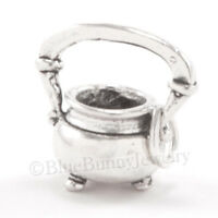 CAULDRON Charm Witch Pendant Kettle 925 Sterling Silver Halloween WITCHS BREW 3D