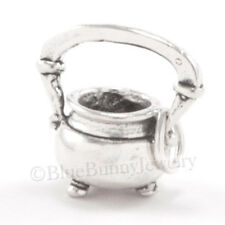 3D WITCH'S CAULDRON Kettle in 925 Sterling Silver Halloween Witch Pendant Charm